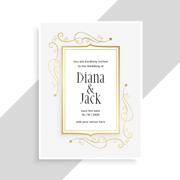 Diseño de tarjeta de invitación de boda elegante marco floral dorado vector gratuito
