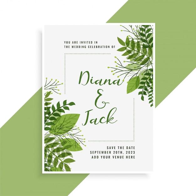 Diseño de tarjeta de invitación de boda en estilo floral hojas verdes vector gratuito