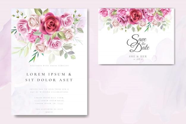Diseño de tarjeta de invitación de boda con rosas elegantes Vector Premium