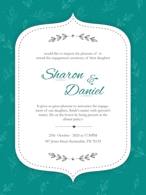 Diseño de tarjeta de invitación con estampado de flores Vector Premium