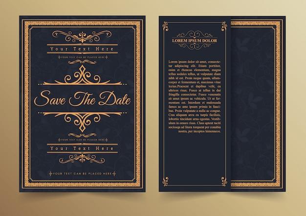 Diseño de tarjeta de invitación - estilo vintage Vector Premium