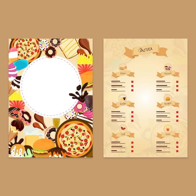 dise u00f1o de tarjeta de men u00fa de restaurante de comida r u00e1pida