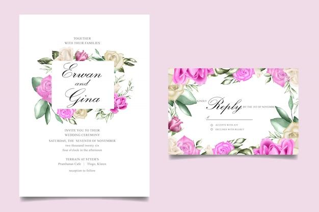 Diseño de tarjeta de plantilla de invitación de boda con acuarela floral y hojas Vector Premium