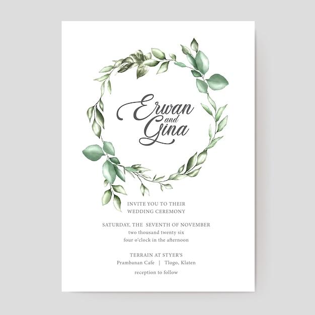 Diseño de tarjeta de plantilla de invitación de boda acuarela Vector Premium