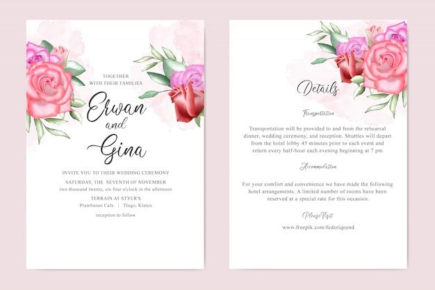Diseño de tarjeta de plantilla de invitación de boda floral acuarela Vector Premium