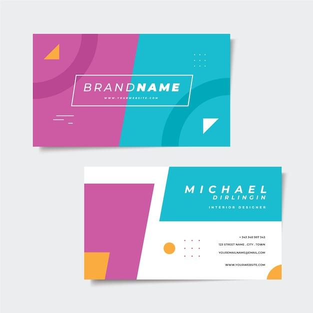 Diseño de tarjeta de visita colorida abstracta vector gratuito