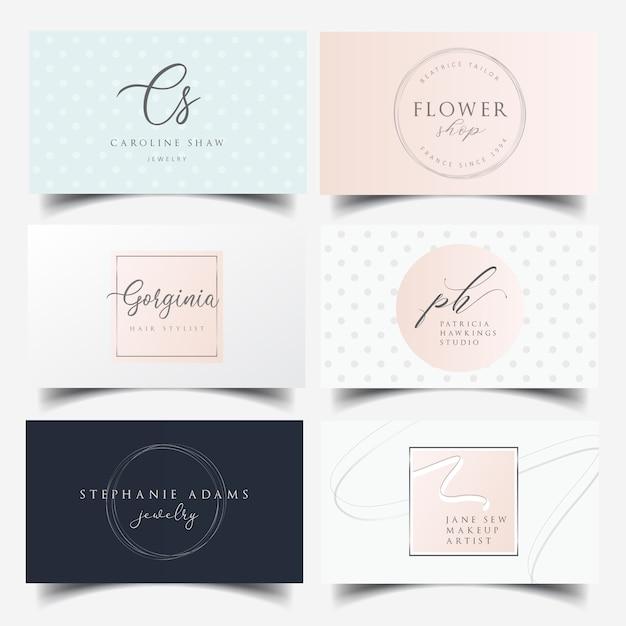 Diseño de tarjeta de visita femenina con logo editable. Vector Premium