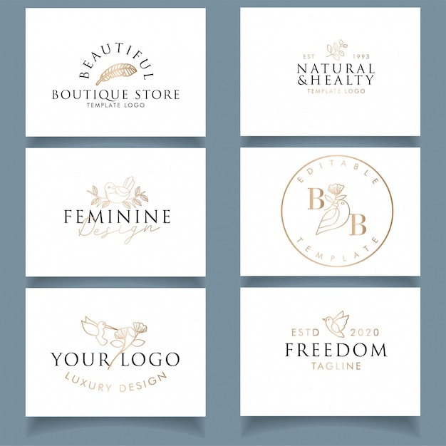 Diseño de tarjeta de visita de lujo moderno con logotipo de pájaro femenino editable Vector Premium