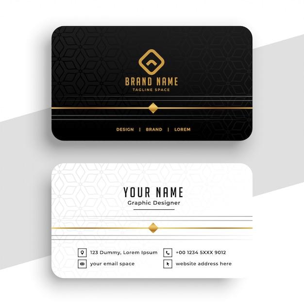 Diseño de tarjeta de visita negra, blanca y dorada limpia vector gratuito