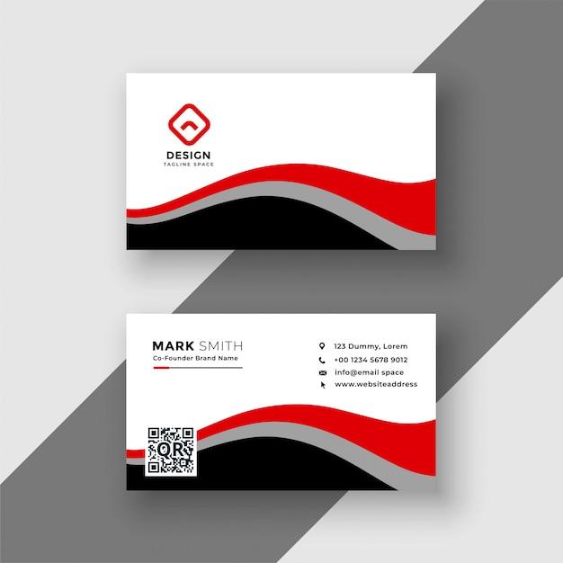 Diseño de tarjeta de visita ondulado rojo abstracto vector gratuito