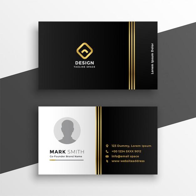 Diseño de tarjeta de visita premium oro negro vector gratuito
