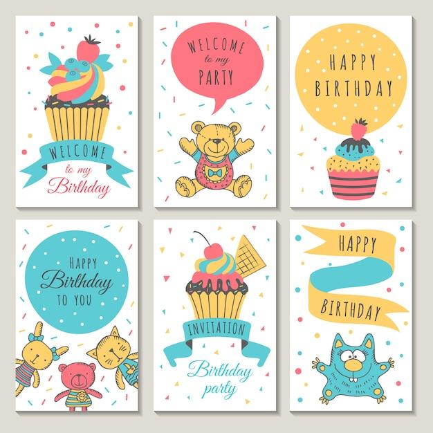 Diseño De Tarjetas De Celebración Invitación Infantil Para