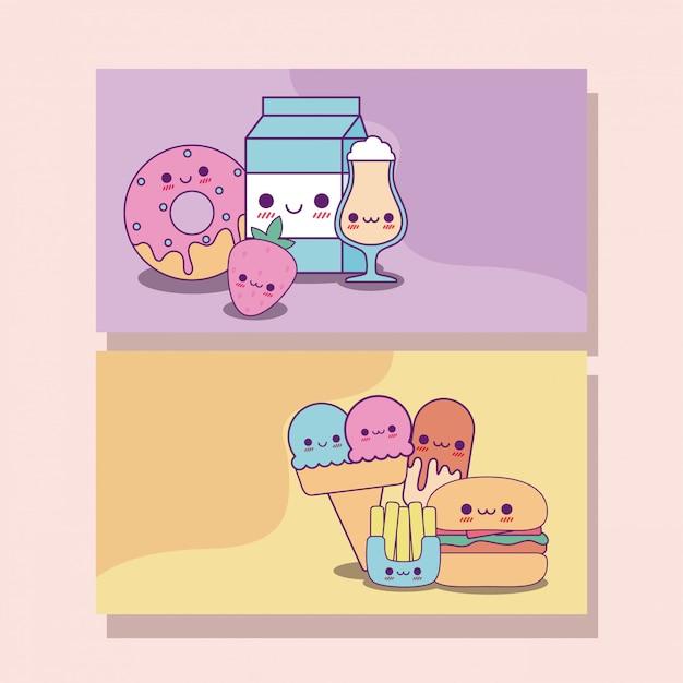 Diseño de tarjetas de etiquetas de comida kawaii Vector Premium