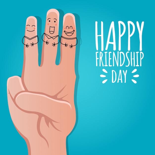 Diseño de tarjetas de felicitación para el día de la amistad feliz Vector Premium
