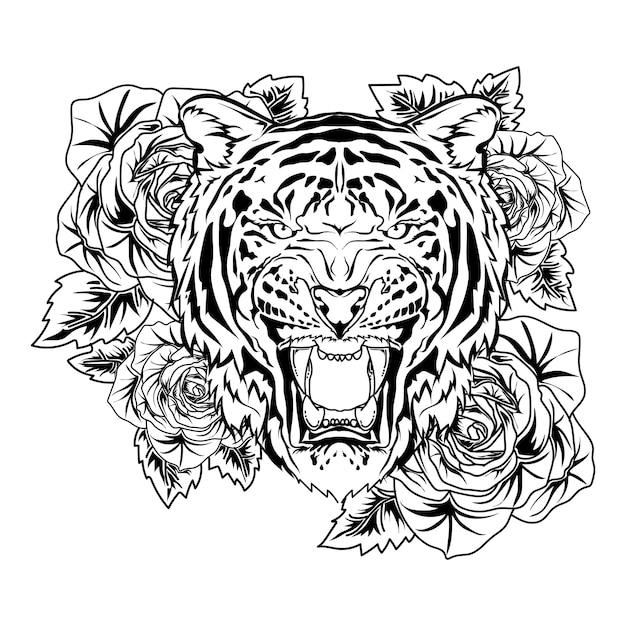 Diseño de tatuaje y camiseta tigre con rosa dibujado a mano vector premium en blanco y negro Vector Premium