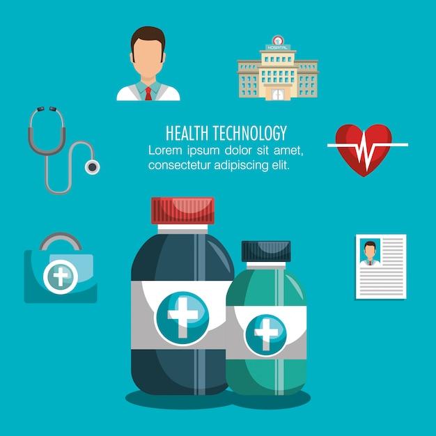 Diseño de tecnología de salud Vector Premium