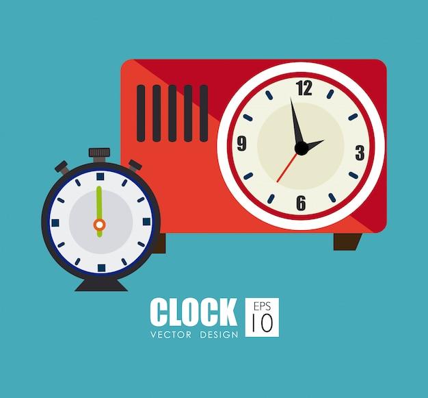Diseño de tiempo sobre fondo azul ilustración vectorial Vector Premium