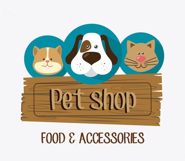 Diseño de tienda de mascotas. vector gratuito