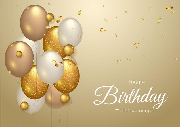 Diseño de tipografía de celebración de feliz cumpleaños para tarjeta de felicitación Vector Premium