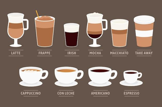 Diseño de tipos de café vector gratuito