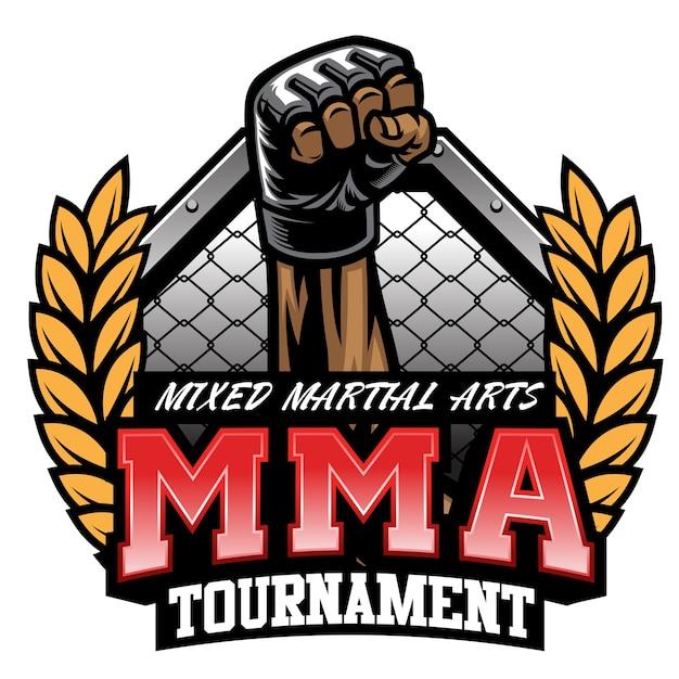 Diseño de torneo de lucha de mma aislado en blanco Vector Premium