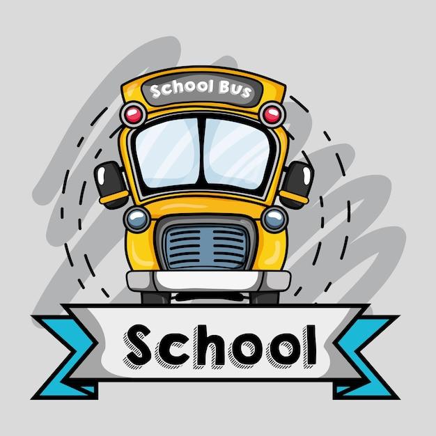 Diseño de tranporte de autobús escolar a la ilustración de vector de estudiante Vector Premium