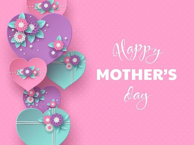 Diseño de vacaciones de saludo de feliz día de las madres. papel artesanal estilo 3d corazones decorados con flores en rosa manchado Vector Premium