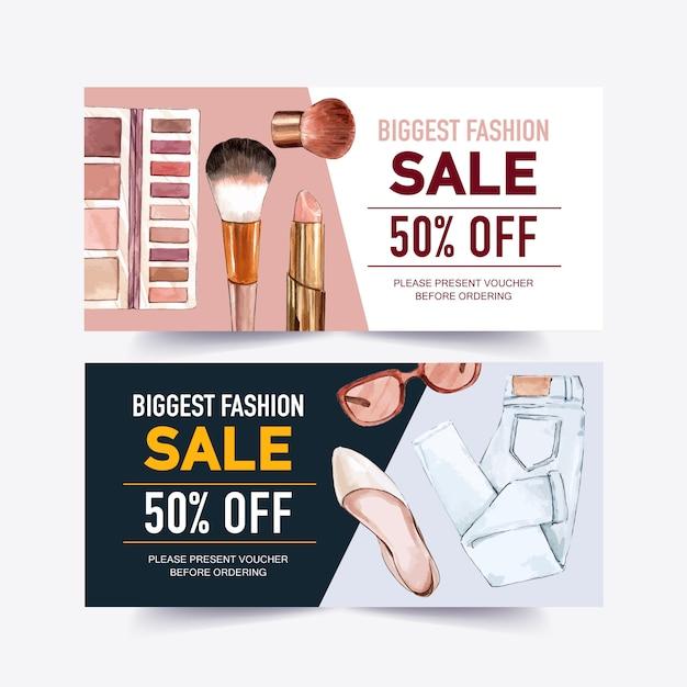 Diseño de vales de moda con cosméticos, jeans, zapatos, gafas de sol ilustración acuarela. vector gratuito