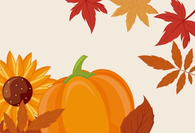Diseño de vector de calabaza girasol y hojas del día de acción de gracias Vector Premium