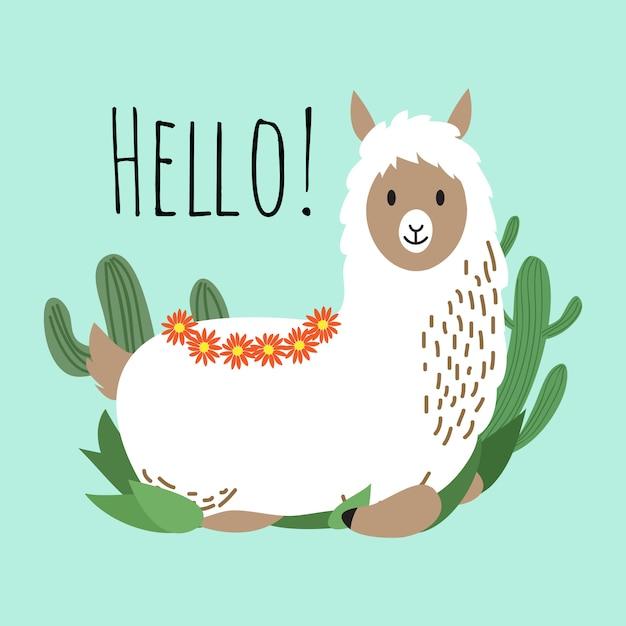 Diseño de vector de dibujos animados lama - tarjeta de saludo con linda alpaca y cactus Vector Premium