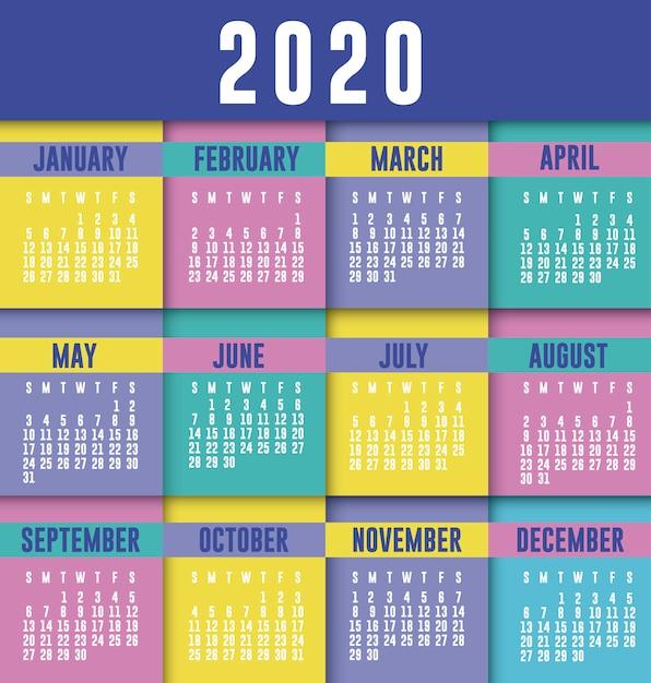 Diseño de vector de planificador de calendario 2020 Vector Premium