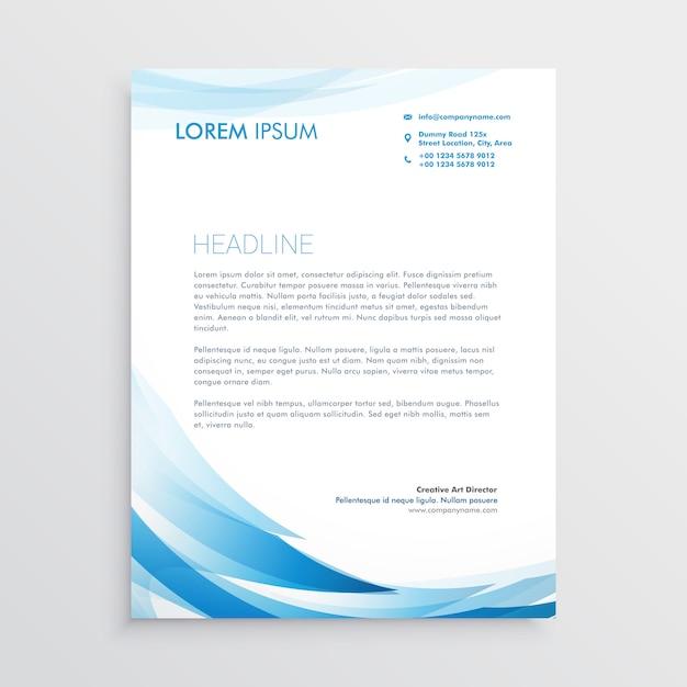 Diseño vectorial abstracto membrete azul vector gratuito
