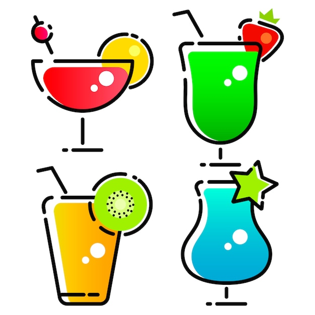 Diseño vectorial de cóctel y bebida logo Vector Premium