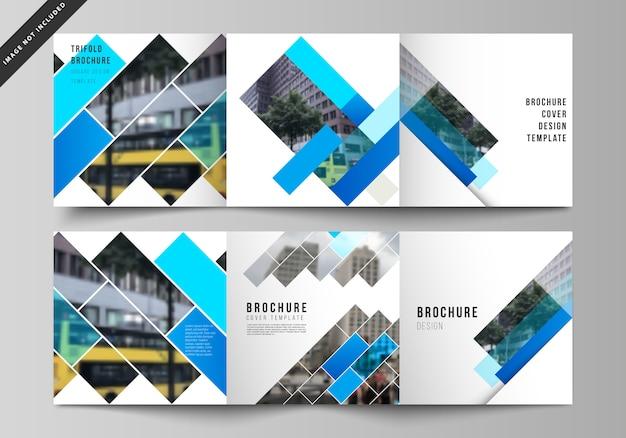 El diseño vectorial de formato cuadrado cubre plantillas para folleto tríptico, patrón geométrico abstracto Vector Premium