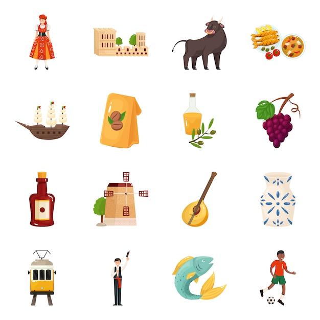Diseño vectorial y logo. colección y set de viaje Vector Premium