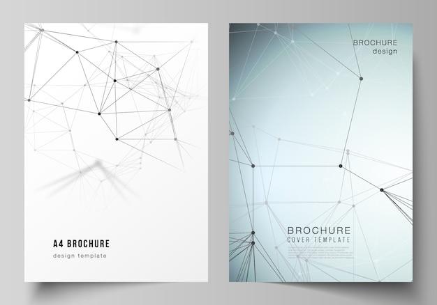 El diseño vectorial de las plantillas de diseño de portada en formato a4 para el folleto. Vector Premium