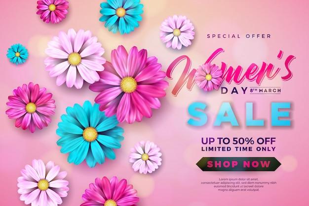Diseño de la venta del día de la mujer con hermosa flor colorida Vector Premium