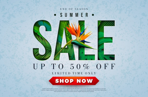 Diseño de venta de verano con flor de loro y hojas de palmera tropical Vector Premium