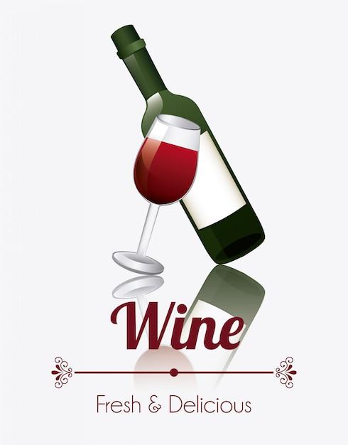Diseño de vino Vector Premium