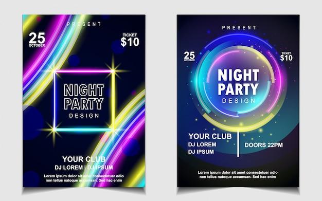 Diseño de volante o póster de música de fiesta de baile nocturno de luz de neón colorida Vector Premium