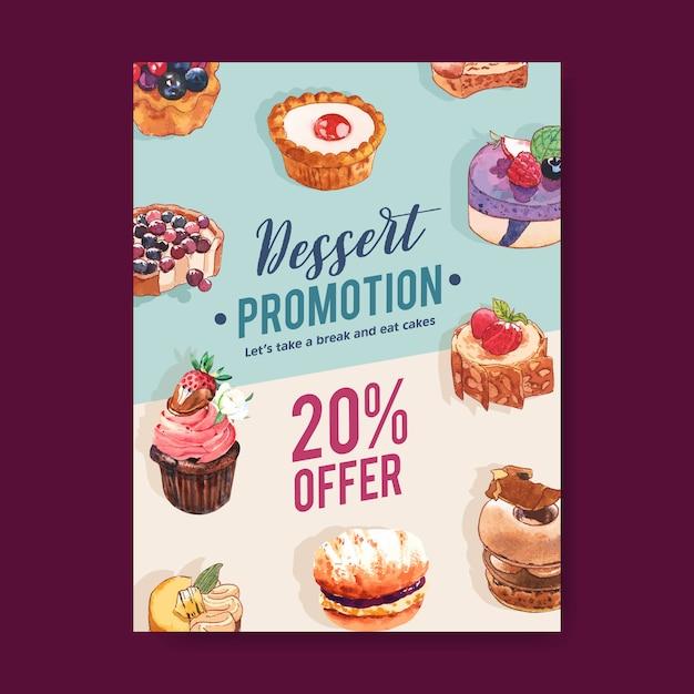 Diseño de volante de postre con mousses pastel, tarta, cupcake, tarta de limón acuarela ilustración. vector gratuito