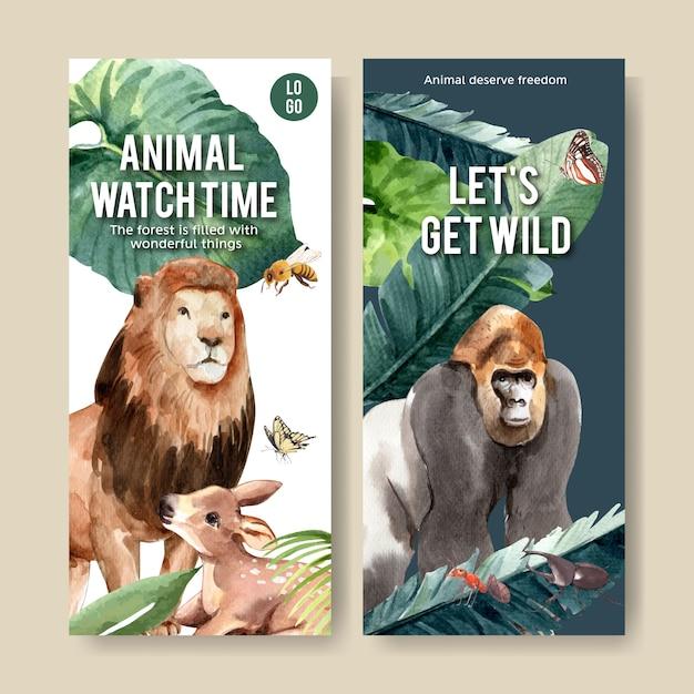 Diseño de volante de zoológico con león, gorila, abeja, acuarela, ilustración. vector gratuito