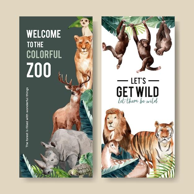 Diseño de volante de zoológico con suricata, león, tigre acuarela ilustración. vector gratuito
