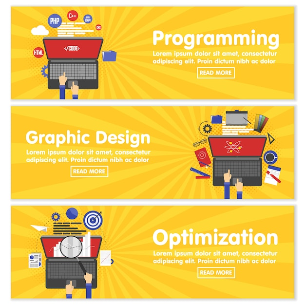 Diseño web programación seo banners planos Vector Premium