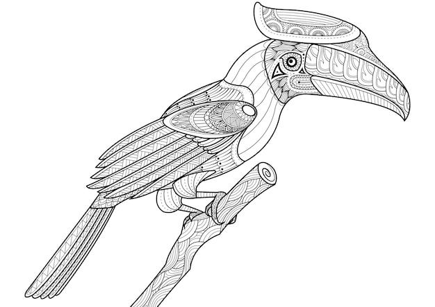 Diseño de zentangle de pájaro hornbill en el árbol para colorear ...