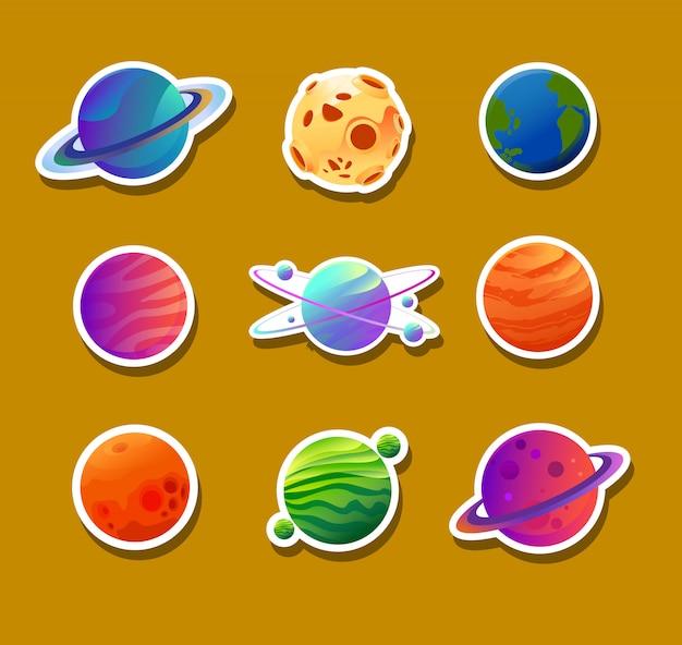 Diseños de adhesivos de varios planetas. Vector Premium