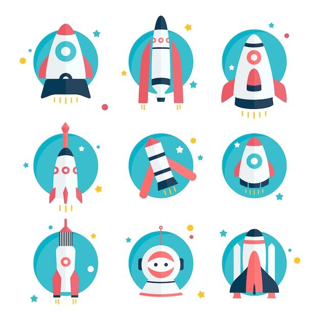 dise os de naves espaciales y cohetes descargar vectores
