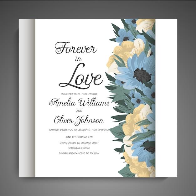 Diseños de flores de la frontera - flores azules vector gratuito