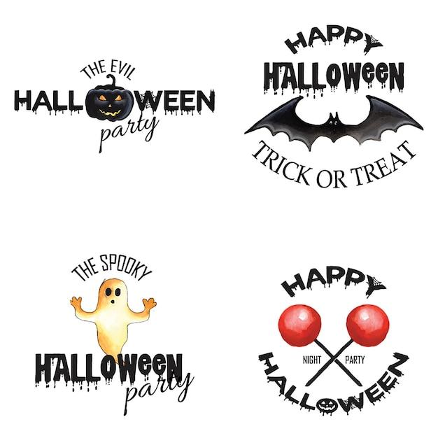Diseños del logotipo de halloween de la acuarela Vector Premium