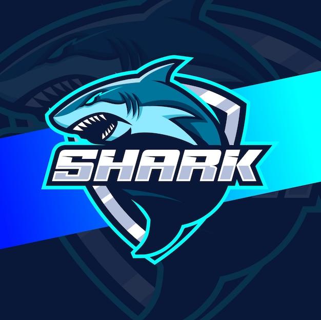 Diseños de logotipo de tiburón mascota esport Vector Premium